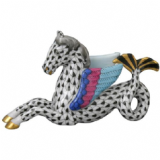 Herend Porcelain Fishnet Figurine of a Hippocamp